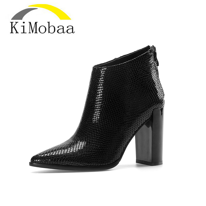 Kimobaa Women's shoes Genuine Leather Simple Women Ankle Boots Pointed Toe High Heel Shoes Woman Black Red Botas Size33-40 TX136 red men wedding dress shoes pointed toe ankle boots genuine leather botas hombre cowboy military boots metal decor men flats
