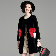 High quality real fur coat new winter women black long wool coat full sleeve with pocket Wool thick women fashion fur coat