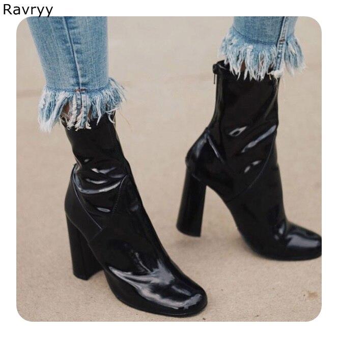 Partie Verni Botte Rond 9cm Mode Cuir Chaussures En Bout Chaude Automne Cheville Courte De Carré 7cm Femelle Bottes Talon Concise Femme Noir Style XTPuOkZwi