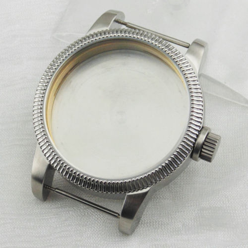 46mm Stainless Steel Watch Case Fit eta 6497 6498 St36 Movement SC4610 46mm matte silver gray stainless steel watch case fit 6498 6497 movement watch part case with mineral crystal glass
