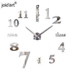 new hot sale clock watch wall stickers clocks home decoration clocks modern quartz diy 3d acrylic Mirror Metal