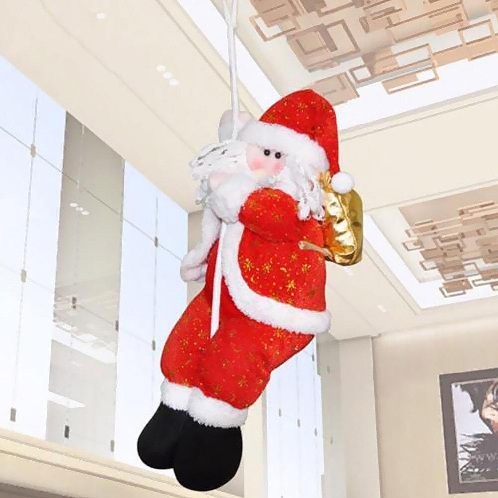 1 unid Pza Navidad paño muñeca colgante Navidad Santa Claus escalada en cuerda escalera navidad árboles colgante hogar fiesta Decoración