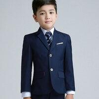 Jacken + mantel + Hose Jungen Anzüge Blume mädchen Slim Fit Smoking Marke Fashion Bridegroon Kleid Hochzeit blau Anzüge Blazer
