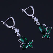 Gorgeous Butterfly Green Cubic Zirconia White CZ 925 Sterling Silver Drop Dangle Earrings For Women V0804 trendy new women s gorgeous white silver color water drop red cz crystal dangle drop earrings for female jewelry gift