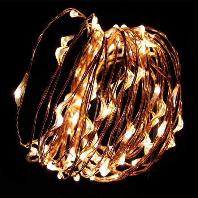 high quality 9 colours dc 12 volt waterproof copper wire string lights 10m 100 leds outdoor
