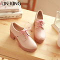 LIN KING New Women Pumps Round Toe Lace Up Thick Sole Platform Shoes Low Top PU Solid Square Heel Wedding Ankle High Heel Shoes