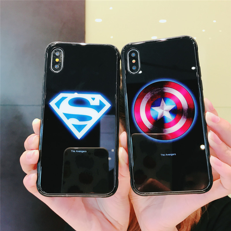 Luxury Marvel Luminous Tempered Glass Case For iPhone 1