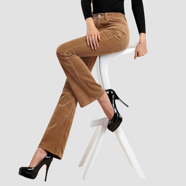 autumn and winte Women's Wide Leg corduroy pants mid waist trousers flare corduroy trousers casual pants