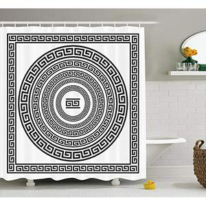 Image 1 - Vixm Greek Key Shower Curtain Traditional Meander Border with Square and Circles Antique Ethnic Frame Pack Fabric Curtains