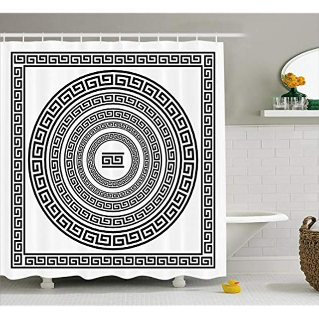 Vixm Greek Key Shower Curtain Traditional Meander Border with Square and Circles Antique Ethnic Frame Pack Fabric Curtains
