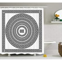 Vixm cortina de ducha con llave griega, cortina de tela con cenefa tradicional con bordes cuadrados y círculos, marco antiguo étnico, paquete de cortinas de tela