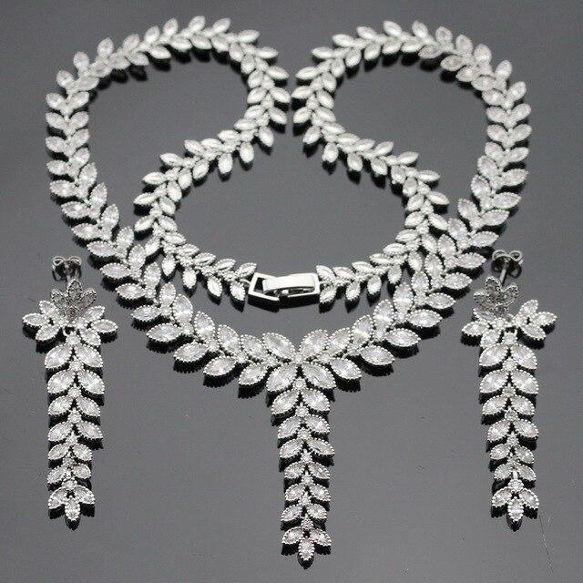 ЭШЛИ Рождество Белый AAA Кубический Цирконий Серебристый Цвет Ювелирные Наборы Для Женщин Ожерелье Кулон Длинные Серьги Бесплатный Подарочная Коробка