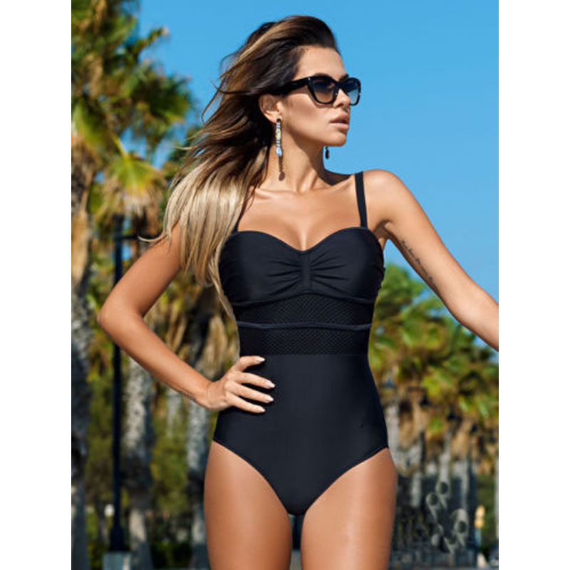 Summer Push Up Bikini 2019 Women Swimwear One Piece Swimsuits For Women Sexy Mesh Solid Patchwork Beach Female Swimming Suit B4