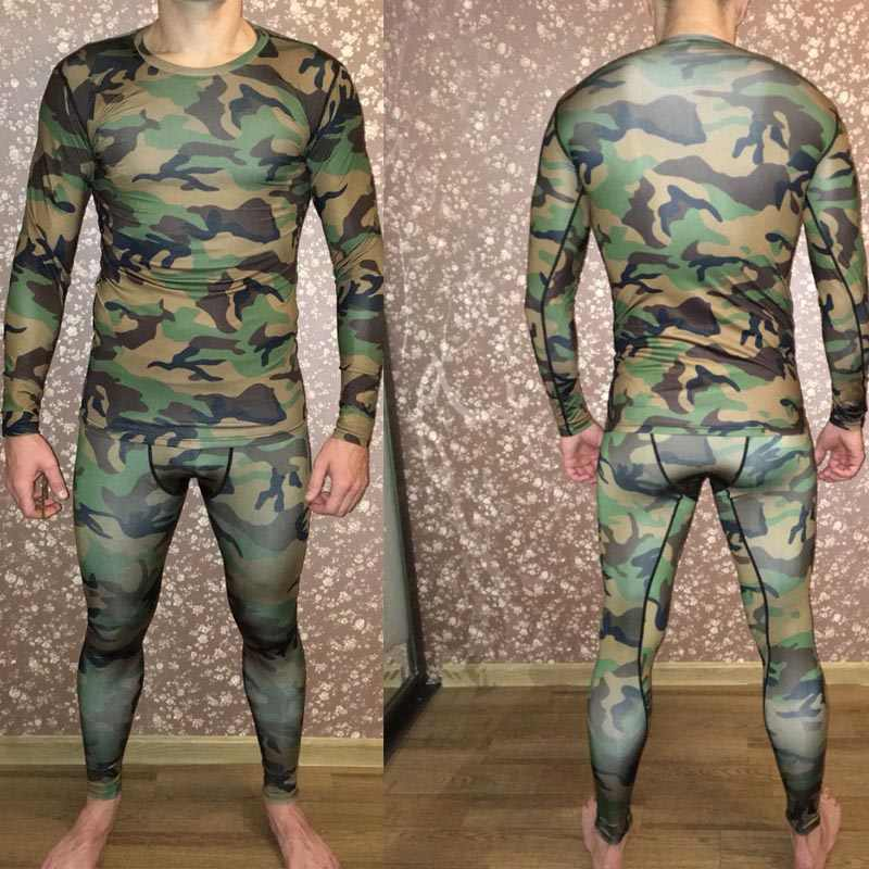 Camouflage Tracksuit Men Compression Clothing Fitness Shirt men Long sleeves Tights T-shirt + Men Leggings kit Hot selling XXXL
