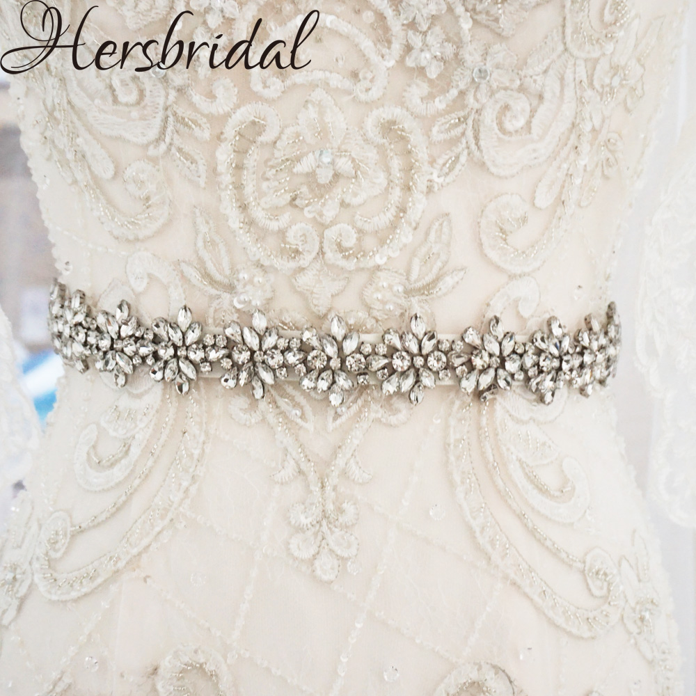 Silver Skinny Bridal Sash Belt Rhinestone Belt Wedding Dress Accessories