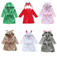 Children Bathrobes Baby Girls Boys Velvet Robes Pajamas Kids Coral Clothes Children Charater Cartoon Pajamas Kids Bathing Robes
