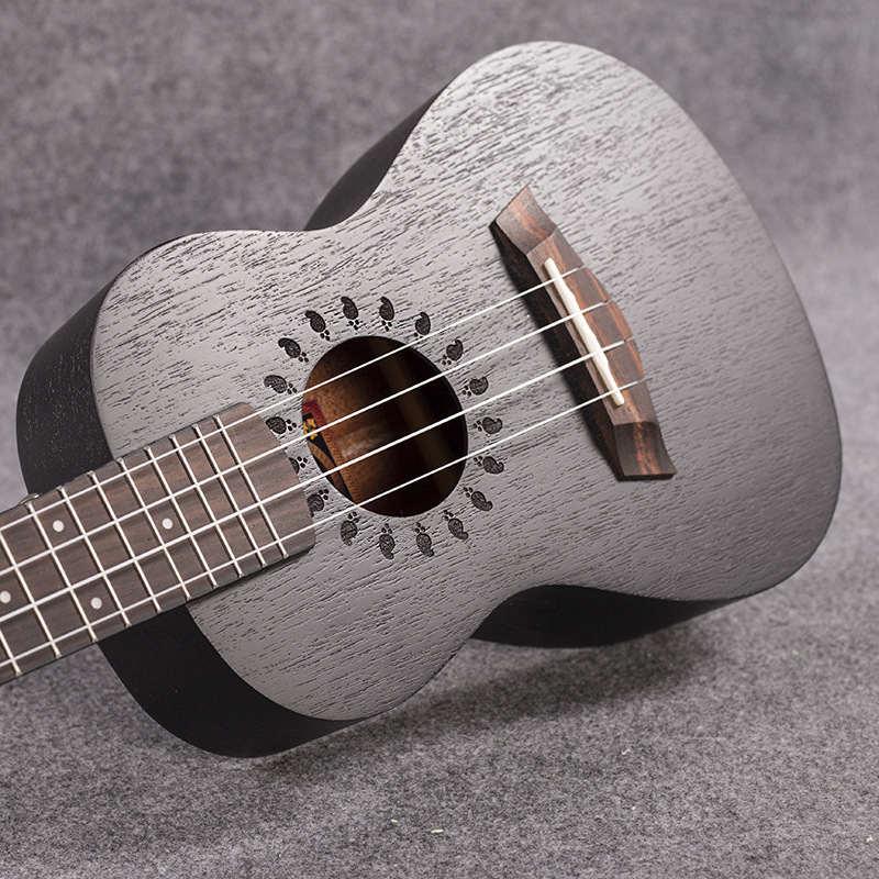 concert acoustic electric ukulele 23 inch mini hawaiian guitar ukelele black mahogany guitarra. Black Bedroom Furniture Sets. Home Design Ideas