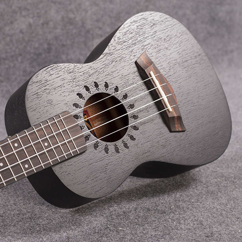 Concert Acoustic Electric Ukulele 23 Inch Mini Hawaiian Guitar Ukelele Black Mahogany Guitarra Plug-in Pick Up Uke