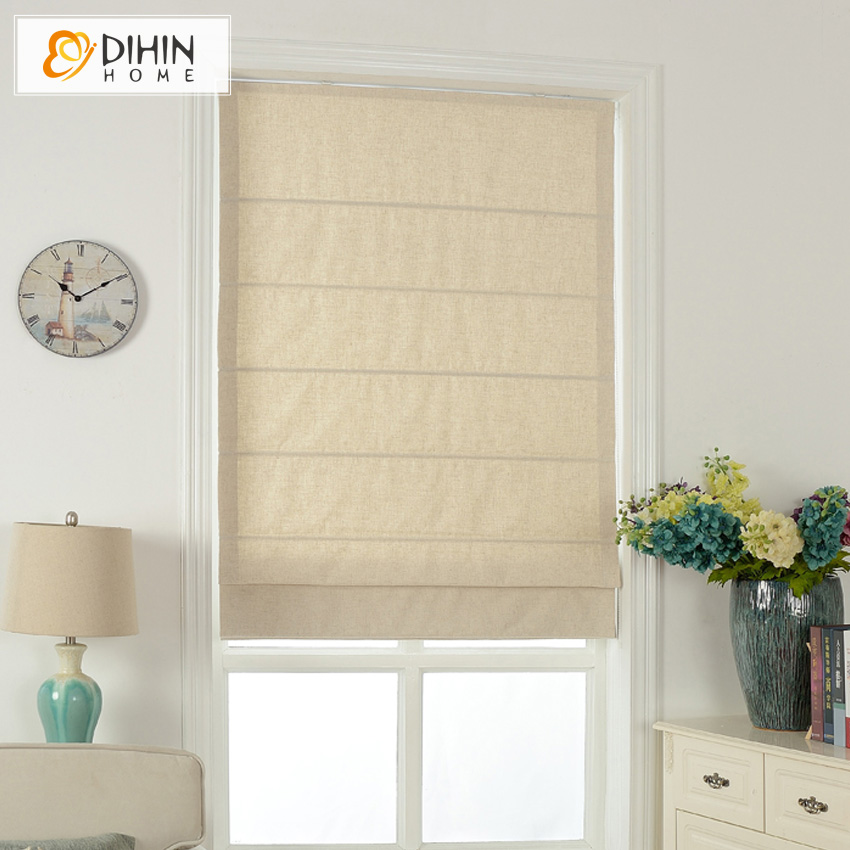 Included Curtains Modern Curtain Pure Beige Cotton/Linen Roman Curtain Blind Home Decor Window Drapes For Living Room-in Curtains from Home & Garden    2