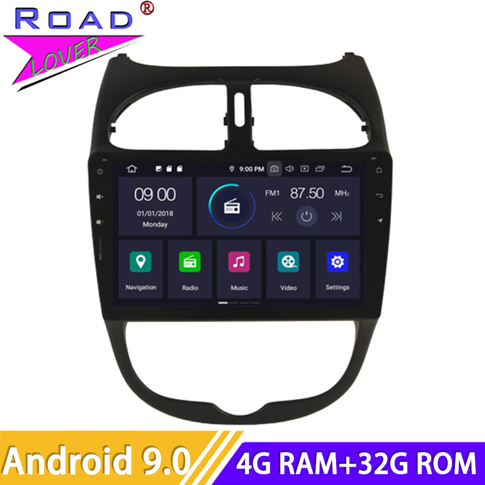 Android 9.0 Car Radio For <font><b>Peugeot</b></font> <font><b>206</b></font> CC Stereo GPS Navigation 2 Din Autoradio HD <font><b>Screen</b></font> Car Head Unit Multimedia DVD Player image