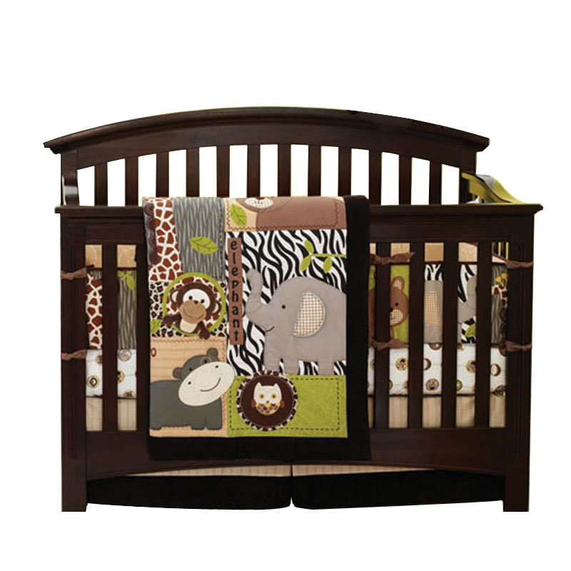 Ensemble de literie Original 7 pièces pour berceau bébé garçon fille avec tampons pare-chocs, imprimé girafe singe elphant