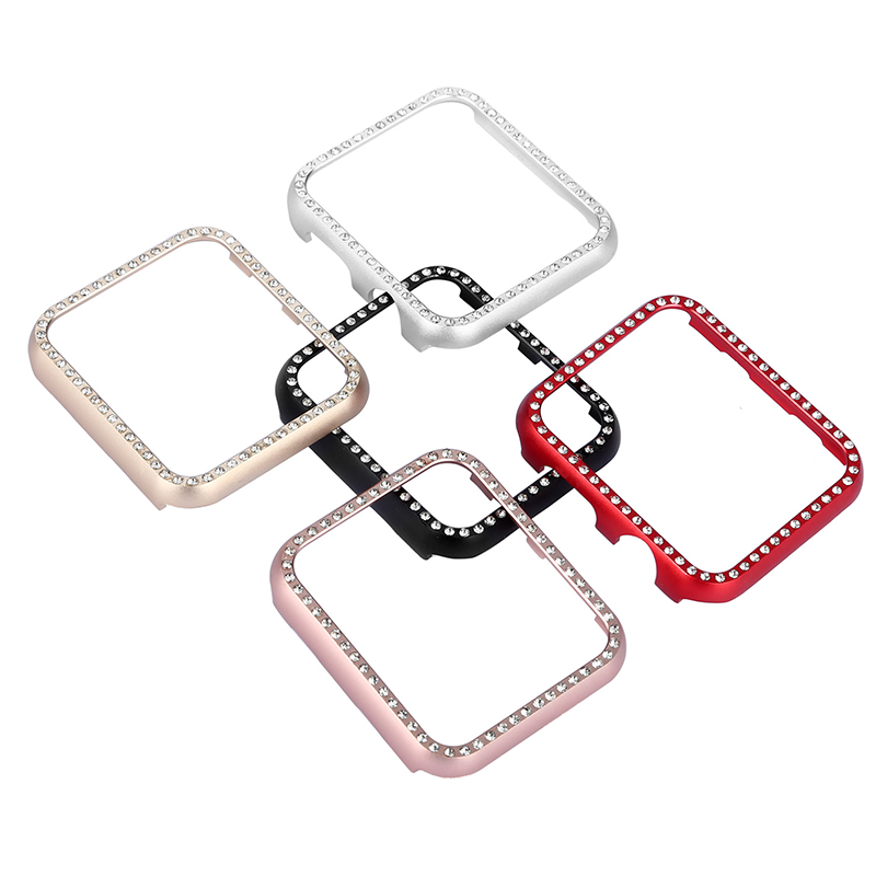 Diamond aluminum shell Cover for Apple Watch 42mm 38mm Crystal Rhinestone Protective Frame Case iwatch Series 3/2/1 Metal Bumper case cover for apple watch 4 44mm 40mm iwatch strap 3 2 42mm 38mm aluminum alloy frame diamond protective shell accessories