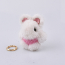 2017 mini fur rabbit keychains real mink 8cm bunny keychain fur key chains bag bunnies trinket pompon fur hare phone pendant