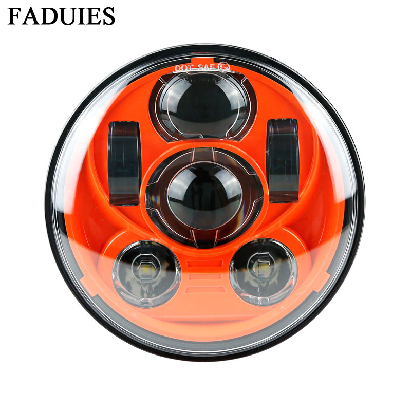 FAUDIES Orange 5-3/4 Round Headlamp for Harley Dyna Sportster 1200 883 Parts Daymaker 5.75 Inch Projector LED Moto Headlight