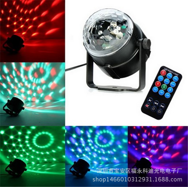 ФОТО Mini remote control Magic crystal ball lamp LED stage lighting Rotating stage light Mini ball