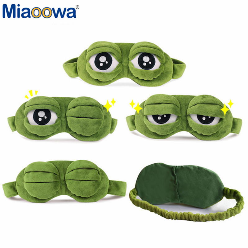 купить Funny Creative Pepe the Frog Sad Frog 3D Eye Mask Cover Cartoon Plush Sleeping Mask Cute Anime Gift по цене 174.75 рублей