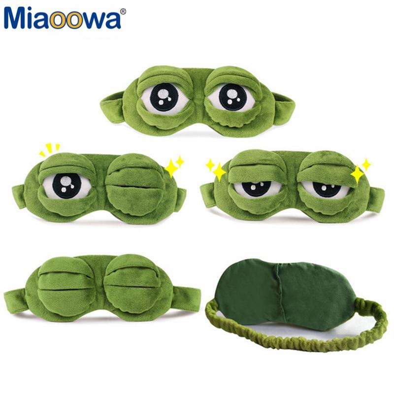 Funny Pepe The Frog Sad Frog 3D Eye Mask Cover Cartoon Plush Sleeping Mask Cute Anime Gift