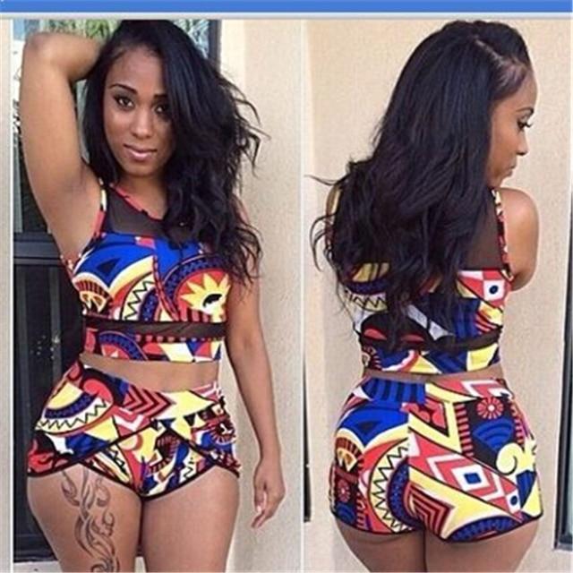 a0d3a15831bda Women High Waist Bikini Swimsuits 3XL Plus Size Swim Wear Bathing Suit  African Print Biquini Large