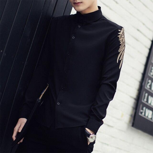 Chemise Homme 2018 Nouveau Printemps Solide À Manches Longues Chemise  Brodée hommes de Mode Coréenne Slim