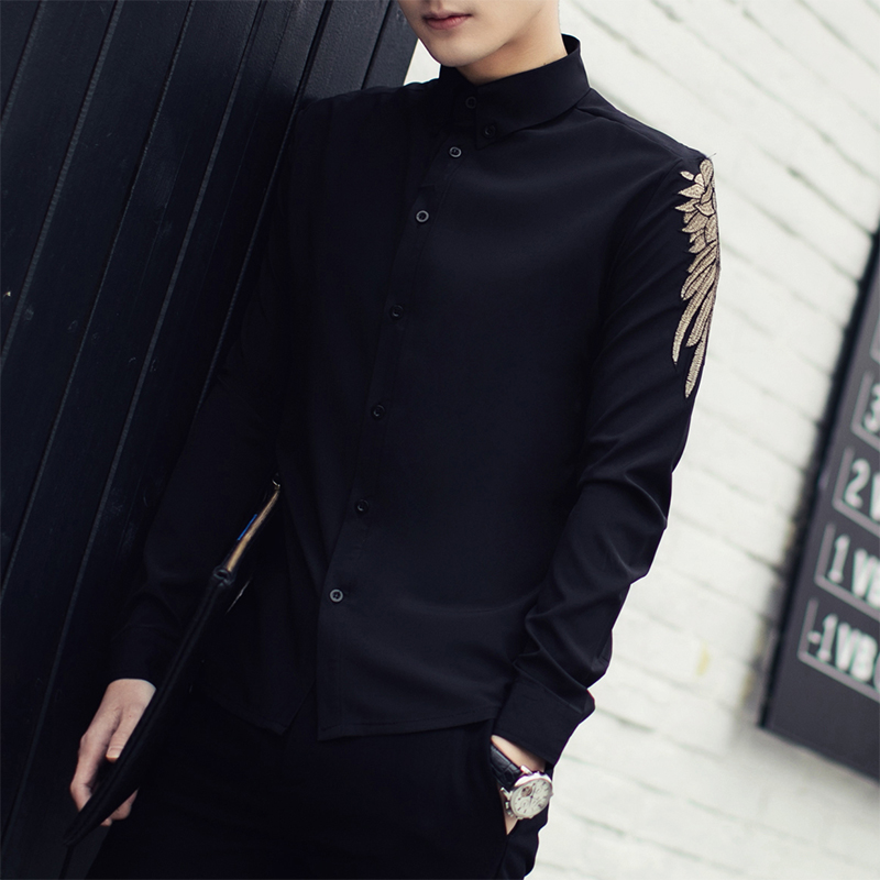 Chemise Homme 2019 New Spring Solid Long Sleeve Embroidered Shirt Men Korean Fashion Slim Fit Casual Men Shirt Black White 3XL-M