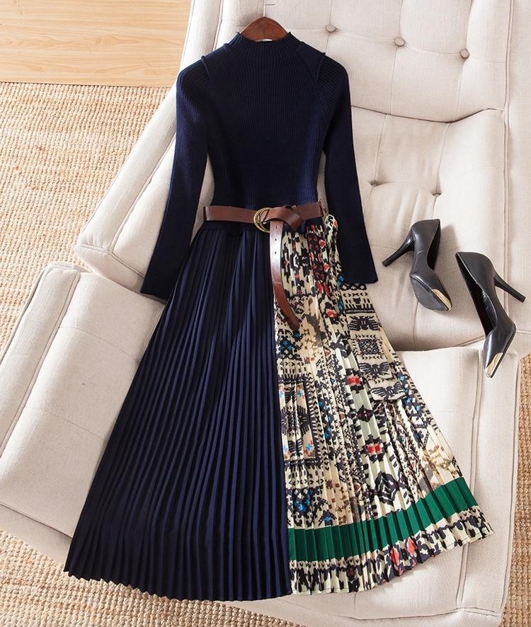 Women Color Block Print Patchwork Knit Sweater Belt Dress Long Sleeve Mid-calf Pleated Elegant Dresses New 2019 Spring