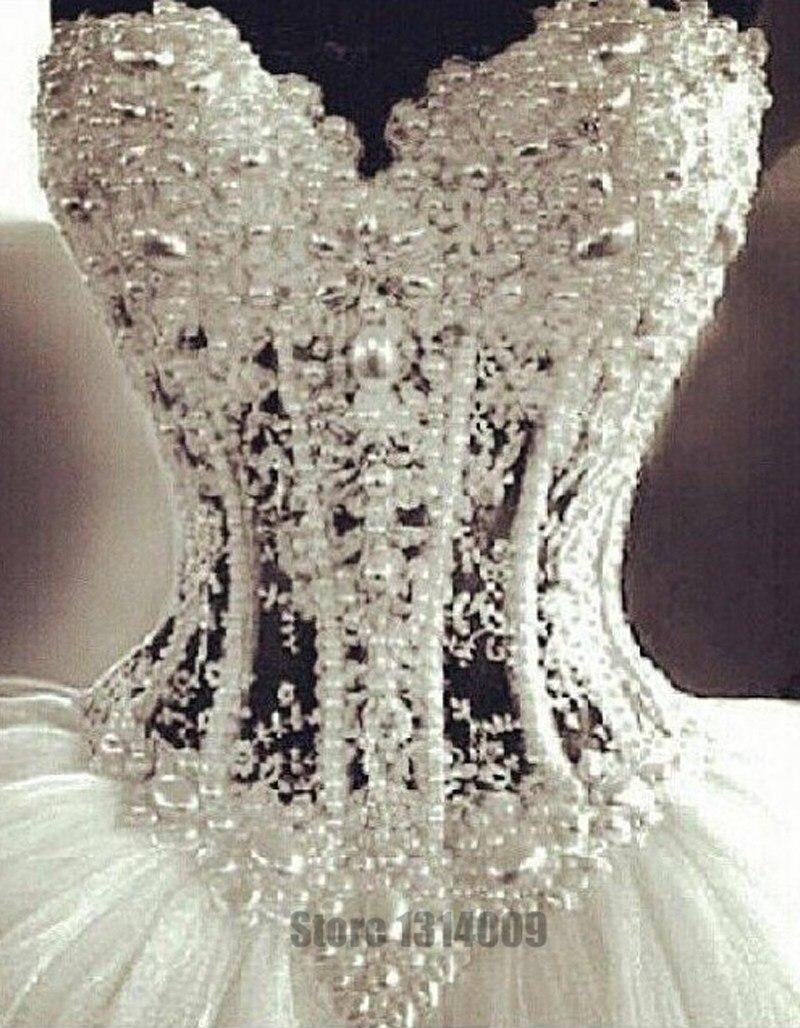 Luxurious Bling Strapless Wedding Dresses Corset Bodice