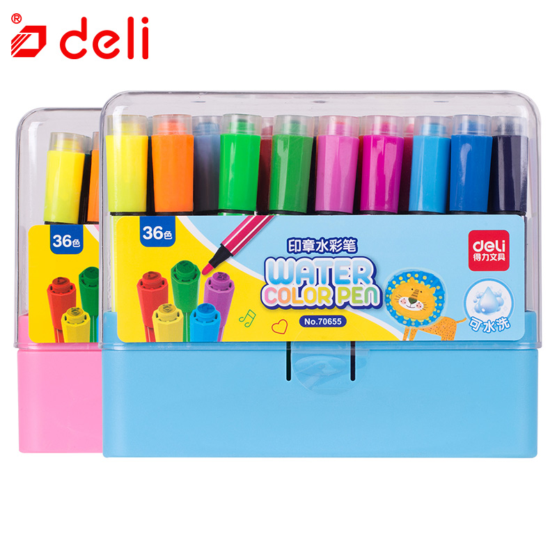 Deli® Stationery Washable Watercolor Pen Student Markers Drawing Painting Pen