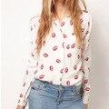 Moda Mulheres com Botões OL Camisa Senhora Blusa Colar Chiffon Manga Comprida Beijo Impresso Blusa Tops