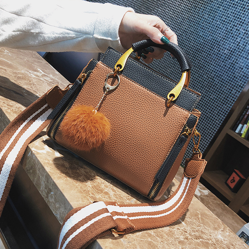 ETAILL New Top Handle Women Handbag Cross Body Bag Female Wide Strap Bags with Fur Ball Small Pu Leather Shoulder Bags Tote Bag