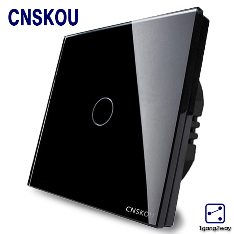 Cnskou EU Standard Touch Switch 1 Gang 2 Gang 2 Way Crystal Glass Panel Wall Light Switch Smart Home Manufacturer smart home us au wall touch switch white crystal glass panel 1 gang 1 way power light wall touch switch used for led waterproof