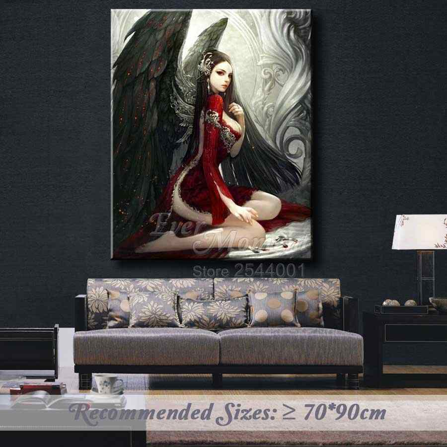 Ever Moment Painting Diamond Black Angel Red Girl Gothic Style Black Winds Diamond Painting Cross Stitch Full Pasting ASF998
