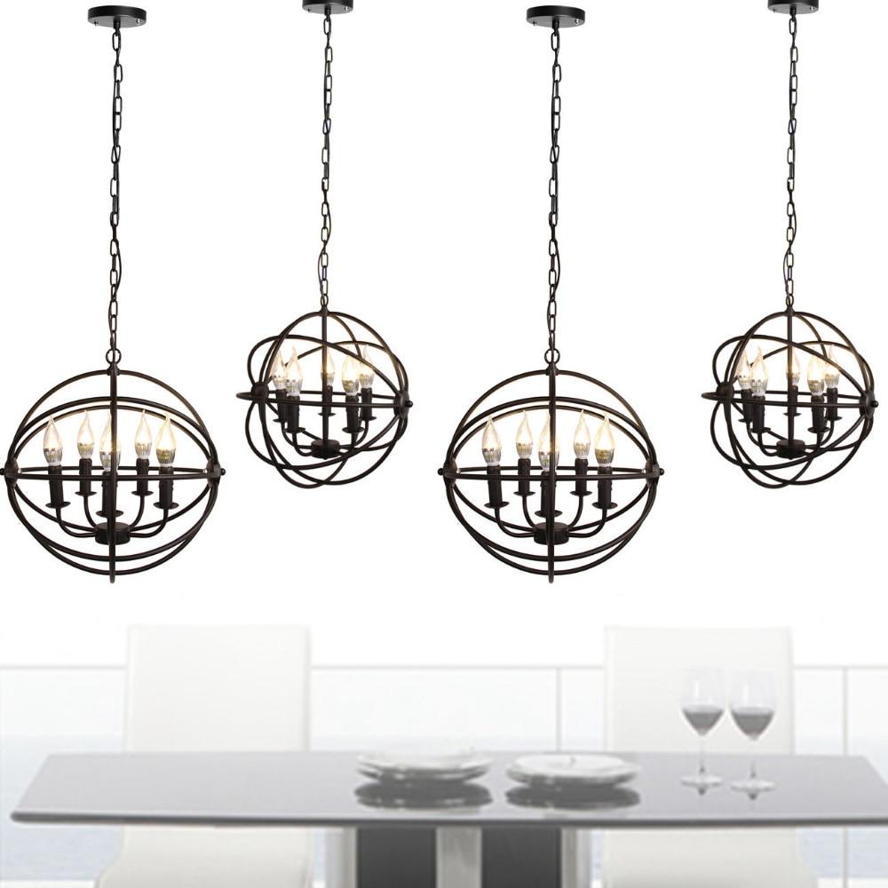 ФОТО (Ship from Germany) 1pcs 5-light Antique Black Metal Globe Chandelier Living Rooms Semi Flush Mount Hanging