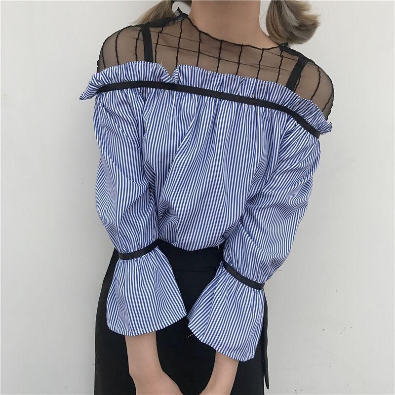 Camisas de las mujeres Slash cuello Patchwork Malla Rayada Falso de Dos Hombro D