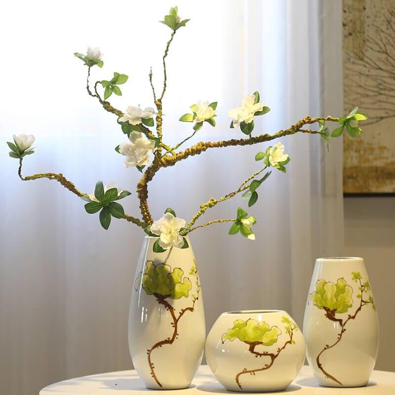 Vase en céramique peint à la main exquis Vintage Vase accessoires de bureau artisanat traditionnel antique Collection de porcelaine