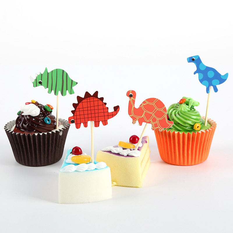 Baking Birthday Cake Decoration Card Color Cartoon Card Decoration Insert Dinosaur Flag 10 Pieces Unicorn Party Cupcake Toppers