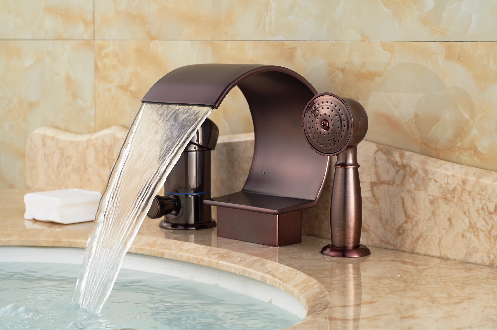 Luxury Widespread Bathroom Tub Faucet W/ Hand Sprayer Diverter Sink Mixer Tap hot and cold water
