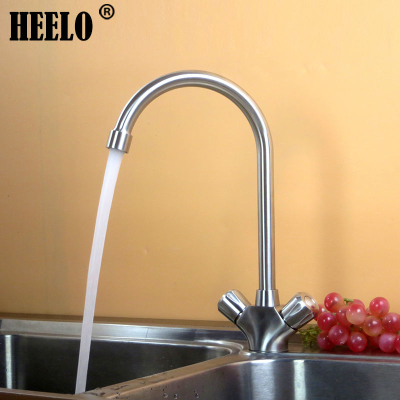 316 stainless steel Dual handle kitchen faucet swivel sink faucet kitchen faucets hot and cold water