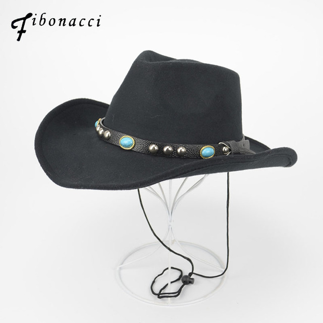 Fibonacci Wholesale 5 pcs Fashion Cowboy Hat Felt Wide Brim Western Mens  Ladies Cowgirl Unisex Fedoras Hats c8163d7c00b