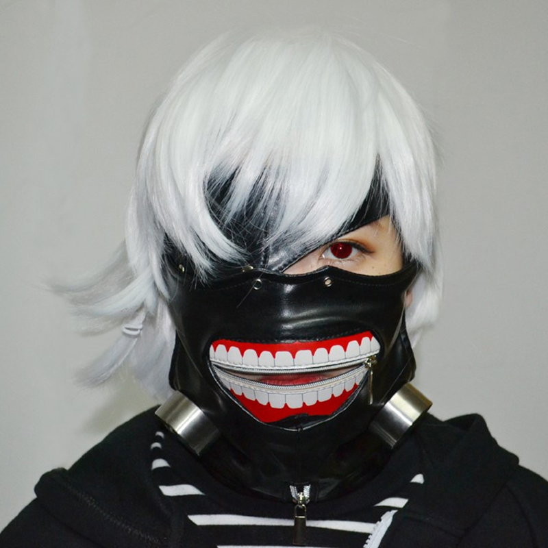 Cosplay Masks Tokyo Ghoul High Quality PU Tokyo Ghoul Mask Adjustable Zipper Masks PU Leather Cool Mask Blinder Anime Cosplay