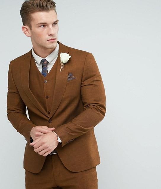 2018 Brown Wedding Skinny Suit England Suits Custom Made Groom ...